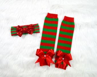 Christmas Leg Warmer Set-Christmas Headband-Leg Warmers-Stripe Leg Warmers- Leg Warmer Set