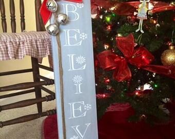 Believe Wood Sign - Christmas Decor - Christmas Sign - Holiday Decor - Christmas Decoration - Believe Sign - Jingle Bells Sign - Rustic Sign