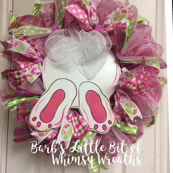 Easter Bunny Wreath, Easter, Bunny Butt Wreath, Pink Mesh Wreath, Wood Bunny Sign, Spring Deco Wreath,  Hand Painted Sign, Bunny Butt
