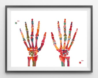 Hand Bones watercolor print skeletal system poster hand bone print anatomy art orthopedic art human bones medical art wall decor gift [157]