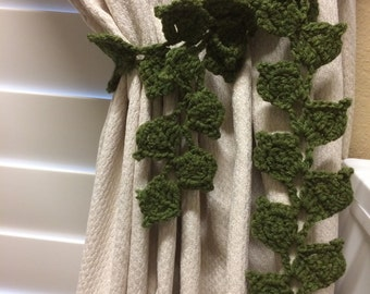 Crochet Curtain Tieback - olive green leaves / 1 pair