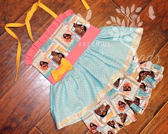Girls Halter Tie Back Peplum Top and Shorts made with Princess Moana Fabric- Moana Dress - size 6m, 12m, 18m, 2t, 3t, 4t, 5t, 6, 7, 8