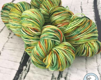Sock yarn superwash merino, nylon, green, orange, yellow, hand dyed