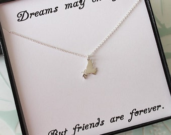 Sterling Silver Bird Necklace, Best friend gift, Jewelry gift for Sister, Friendship gift with message card