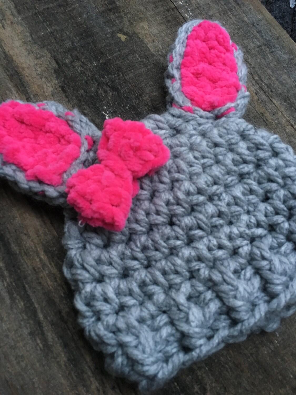 Crochet Bunny Hat. Pink Bunny Hat. Knit Bunny Hat. Crochet Baby ...