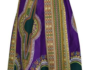 Purple and Green Bahtik Maxi Skirt