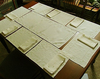 Ecru Linen Placemats and Napkins, Set of Eight with Matching Table Runner, Embroidered Flowers, Vintage