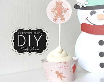 DIY Printable Gingerbread Cupcake Wrappers & Toppers (Digital File): do it yourself print and cut desert decor, holiday cookies - LRD019DD