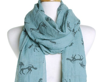 Teal Wild Horses Scarf / Autumn Scarf / Ladies Women Scarves / Wrap Cover Up / Gifts For Her / Cute Ponies Pony Lover / Christmas Present