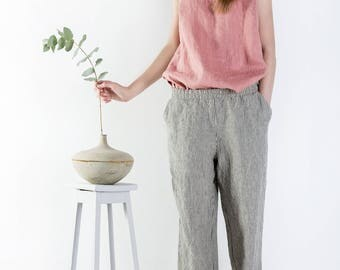 Comfortable linen pants, Linen pants, Casual trousers with pockets, Loose linen pants, Hippie Pants, Leisure trousers, Custom length pants