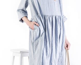 Long linen dress / handmade linen women's clothing / linen tunic dress / loose linen dress / oversized linen dress / loose dress /  linen
