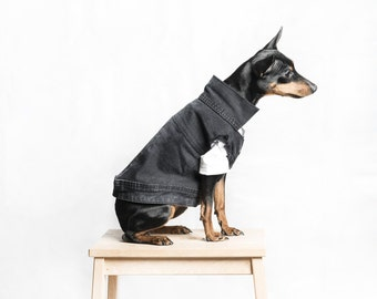 Dog / cat Denim vest - Black jacket -  Handmade pet clothes - Ideal for dogs,  puppies and cats - Keep your pets warm and looking awesome