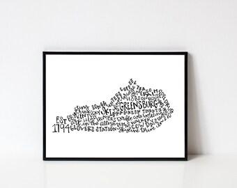 Hand lettered GREENSBURG Kentucky Word Art // 8x10