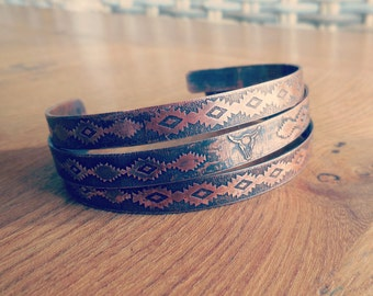 Multiple bracelets, set of 3 bangles of copper, Navajo patterns, Native American bracelet, stackable bracelets, copper bracelets, head of Buffalo