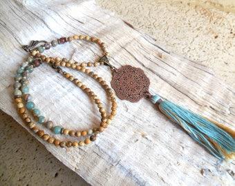 Necklace Mala, meditation, mandala, copper, gemstone, fine, Jasper stone, serpentine