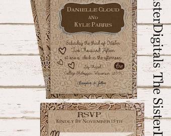 Arabesque Wedding Invitation - Rustic Wood Wedding Invitation - - 5x7 with RSVP -  Printable Design JPG DIY Instant Download Digital Files