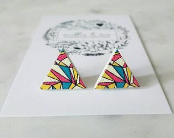 Retro wooden triangle earrings