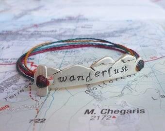 """Sterling Silver """"Wanderlust"""" Bracelet - Mountain Ridge Hiker's Bracelet"""