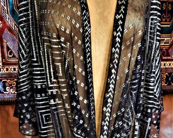Assuit, Black Shawl, Wrap, Belly Dance, Tribal Fusion, Tribal, Art Deco, Egyptian Revival, (101)