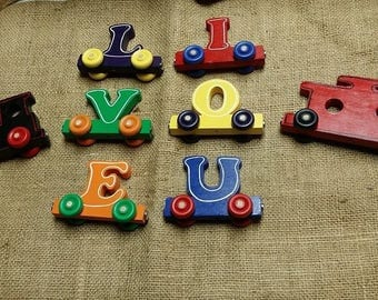 Wooden Magnet Name Train