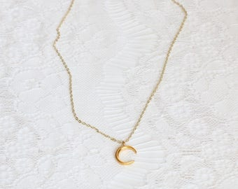 Fine necklace pendant Golden Moon