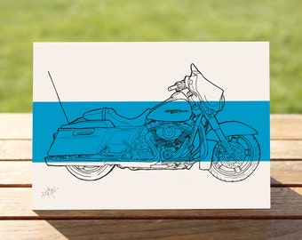 "Blue Street Glide Motorcycle Gift Card | A6 - 6"" x 4""  / 103mm x 147mm  