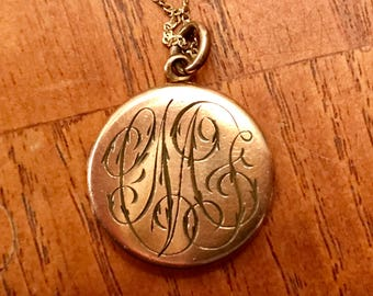 Antique Gold Filled Round Locket On A Sterling Vermeil Chain