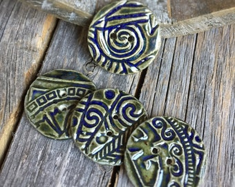 Blue Green Ceramic Buttons | Set of 4 handmade round stoneware buttons  | Round Pottery Buttons | Ceramic Accents | Bracelet fasteners