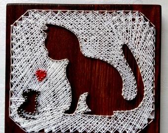 Love Picture String art Wall decor String art Christmas kitten Cat  art Custom Animal String Art gift home decor kitten mouse