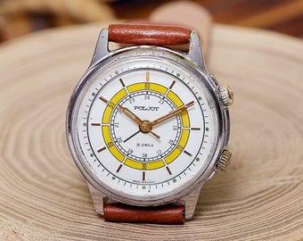 USSR Vintage White Signal Poljot Flight Alarm Russian Men's Watch  new leather strap band