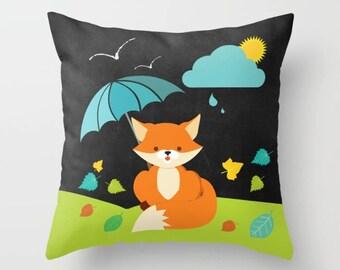 Fox Throw Pillow , Nursery decor , Kids Room Decor , Girls Room , Throw Pillow , Decorative children's pillow ,  kids Pillow