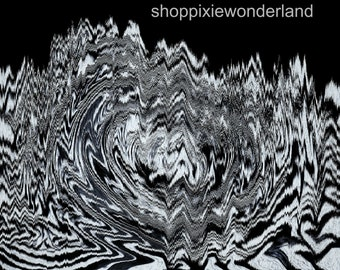Abstract Psychedelic Black and White Print