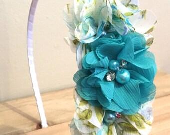 Teal headband, hard headband, teal floral headband, child headband, adult headband, flower girl headband, satin wrapped metal headband