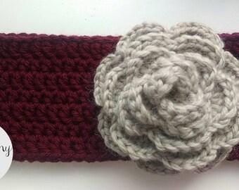 Burgundy flower ear warmer, headband, head wrap, crochet, handmade, earwarmer, winter, adult, women, grey, red