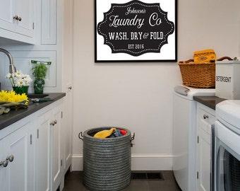 Custom Family Name | Laundry Sign | Vintage | Chalkboard | Digital Print | 0047