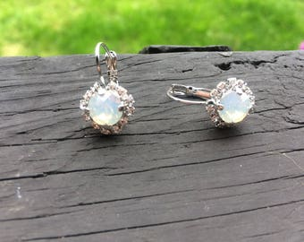 White opal swarovski crystal earrings with halo crystals