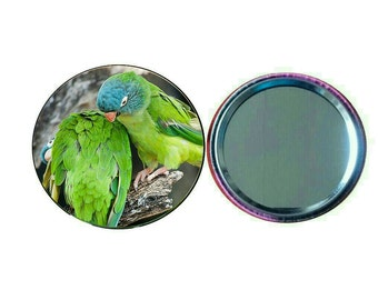 Blue-crowned Conure 55mm Button Pocket Mirror (PG-0775)