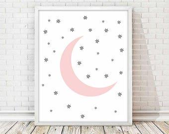 nursery moon print, printable moon, 4 SIZES INCLUDED,kids room decor, kids art room, pink moon,  moon illustration,baby print, baby room