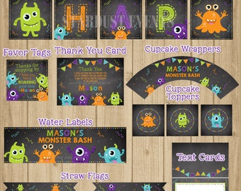 Monsters Birthday Party Pack, Monster Printable Party Package, Monster Party Kit, Monster Birthday