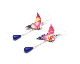 Dove blue and pink earrings Origami Japanese paper