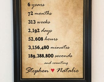 6 Year Anniversary Gift For Boyfriend, Personalized, Frame Included, Six Year Anniversary Gift, 6th Anniversary, Boyfriend, Fiance