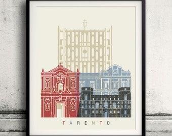 Tarento skyline poster - Fine Art Print Landmarks skyline Poster Gift Illustration Artistic Colorful Landmarks - SKU 2336