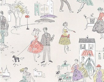 Retro wallpaper colorful petticoat girls / teen / economic miracle, 50s