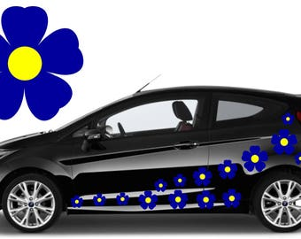 20, blue & yellow flower car decals,stickers in three sizes