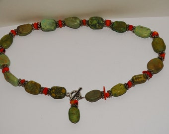 """Vge Genuine Turquoise And Coral 18"""" Necklace."""