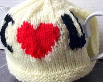 i love you teacosy, love heart teacozy, valentine tea cozy, love heart teacozy, red heart teacosy, heart gift, heart teacosy, knitted teacos