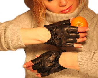1263-Elegance Women's Lambskin Leather Gloves FingerLess Black/Black Unlined - Winter,Gifts for her,Fashion,Holidays,Christmas,New Year