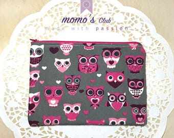 Box-Mini purse-Zip pouch-Mini cosmetic bag-Pink Owls cotton clutch bag made in Italy