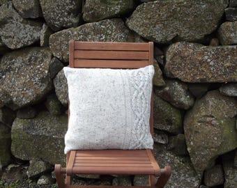 Hand Knit Aran Cushion Cover