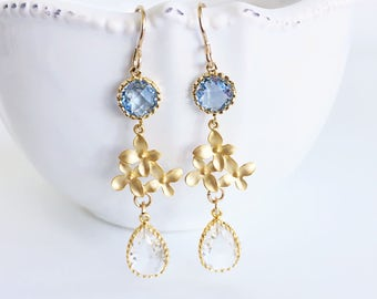 Gold Flower Long Dangle Earrings, Blue and Clear Crystal Teardrop Earrings, Cherry Blossom Jewellery, Something Blue Bridal Wedding Earrings